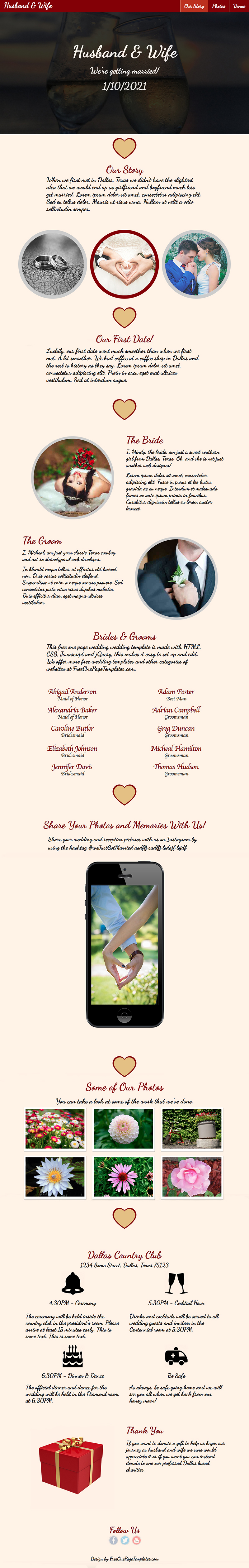 Free One Page Wedding Website Template - Husband & Wife