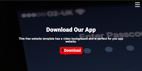 Free One Page App Website Template with Video Background - Videoy