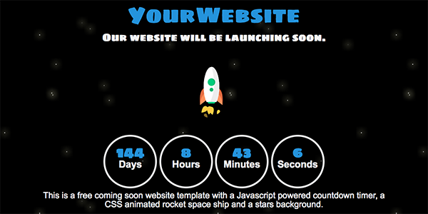 Free One Page Coming Soon Website Template Download with a Javascript Powered Countdown Timer #3