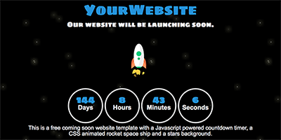 Free One Page Coming Soon Website Template - Countdown Rocket