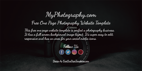 Free One Page Photography Website Template with a Full Page Background Image - My Photography