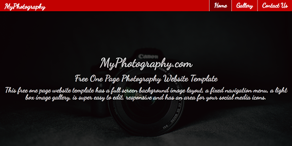 Free One Page Photography Website Template with a Full Page Background Image - Red Photography