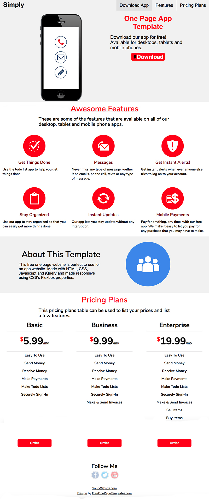 Free One Page App Website Template - Simply