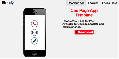 Free One Page App Website Template