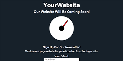 Free One Page Coming Soon Website Template - Newsletter Time