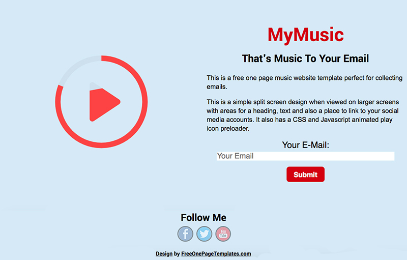Free One Page Coming Soon Website Template - Animated Music