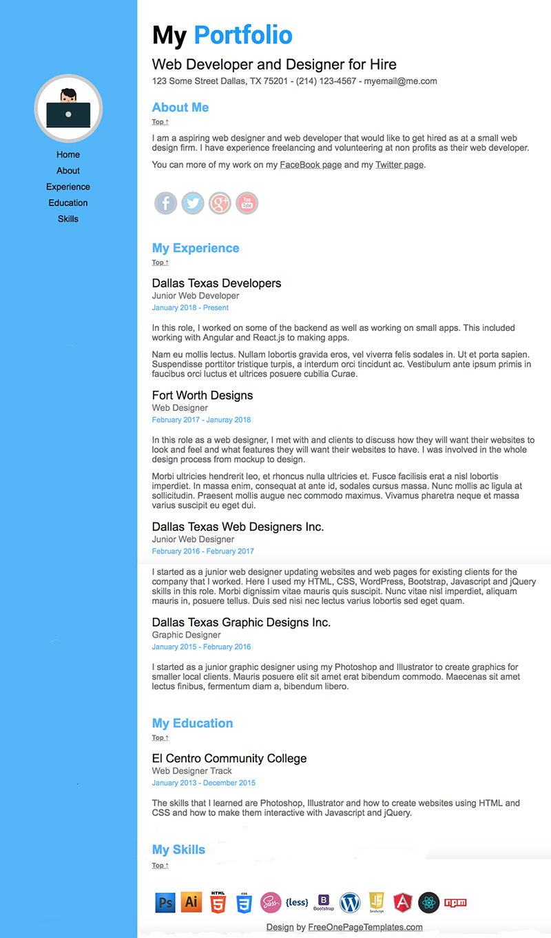 Free One Page Website Designer Portfolio Website Template
