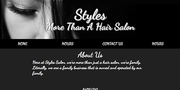Free One Page Hair Salon Website Template - Styles Salon