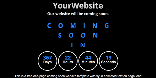 Free One Page Coming Soon Website Template with Animated Text - Animations