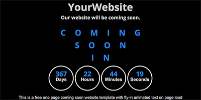 Free One Page Coming Soon Website Template - Fly In Welcome