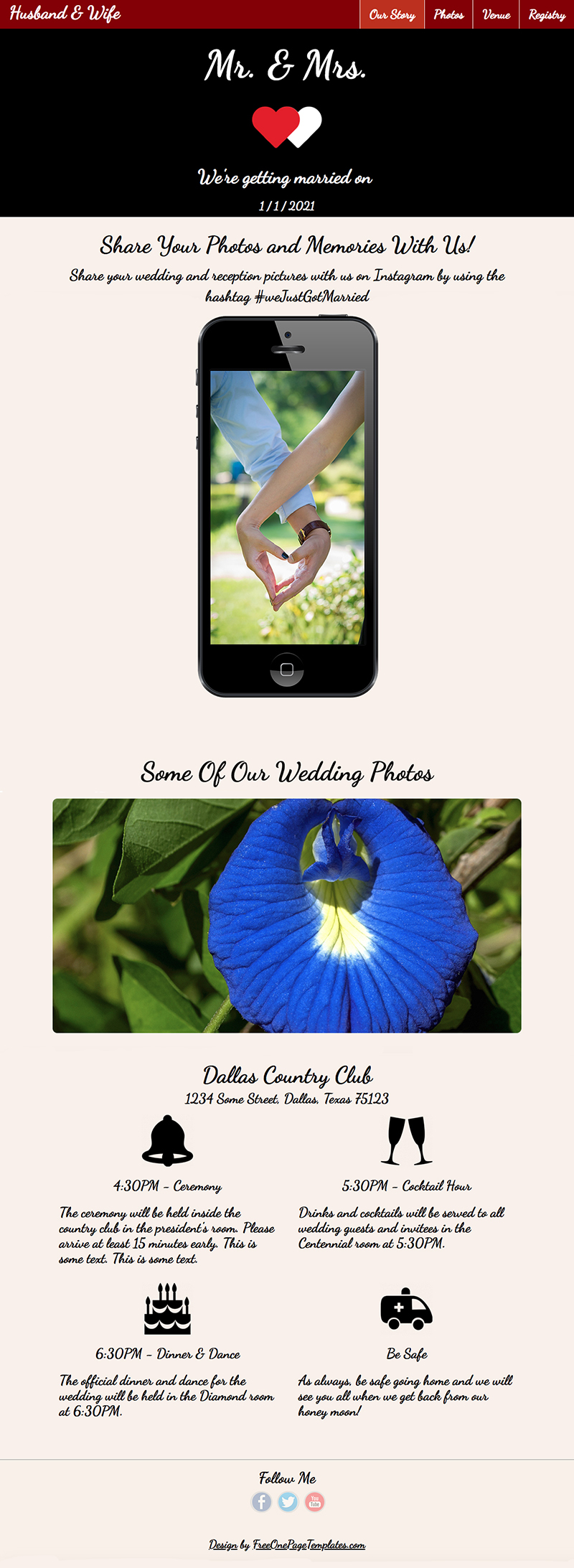 Free One Page Wedding Website Template - Mr. & Mrs.