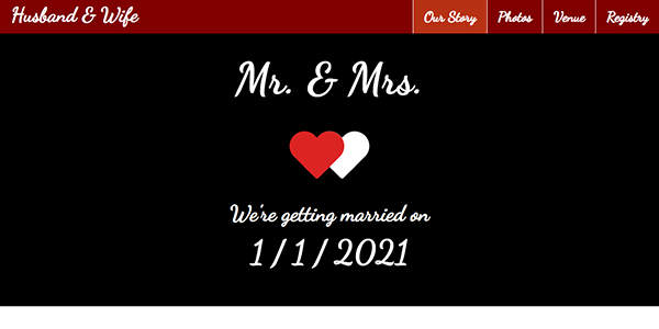 Free One Page Wedding Website Template Download - Mr. & Mrs.