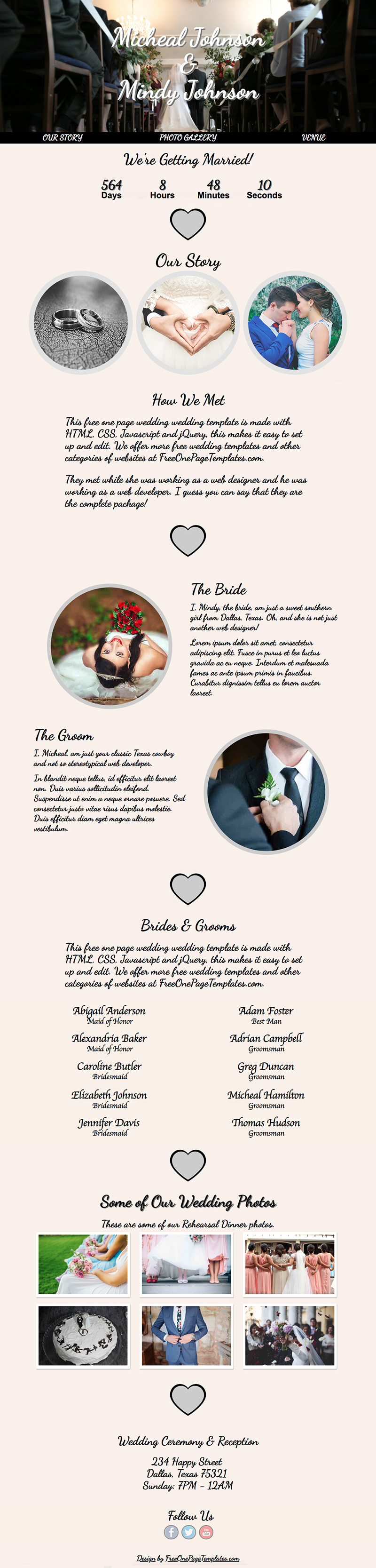 Free One Page Wedding Website Template - Top Marriage
