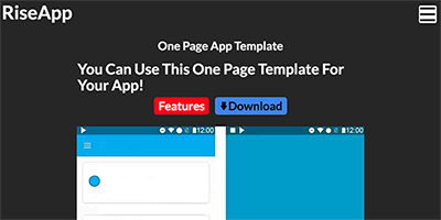 Free One Page App Template - RiseApp Template Preview