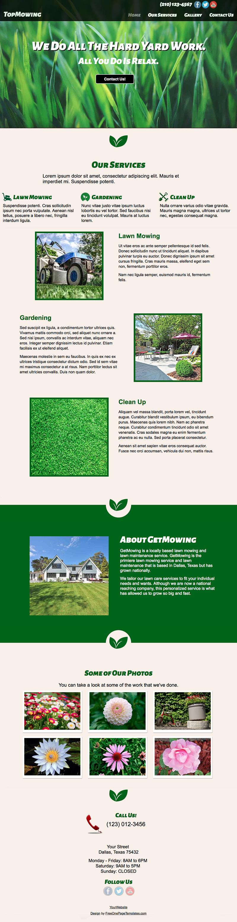 Free One Page Landscaping Website Template - Top Mowing Preview Page