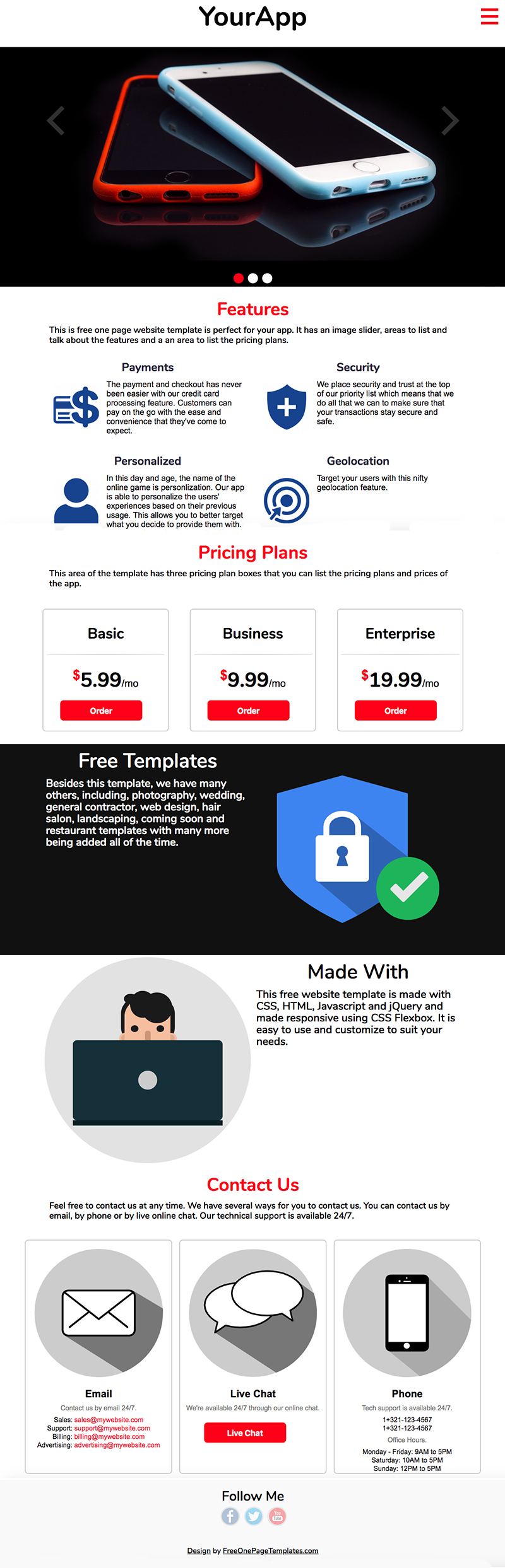 Free One Page App Website Template - YourApp