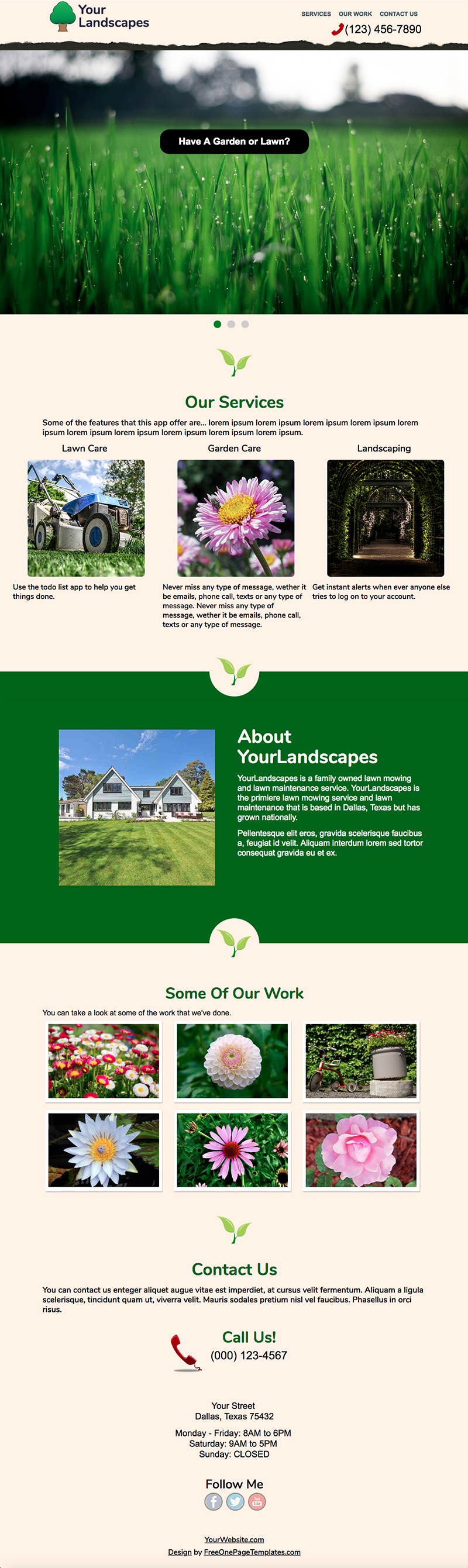 Free One Page Landscaping Website Template - Your Landscapes Template Preview
