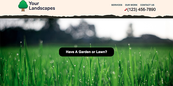 Free One Page Landscaping Website Template - Your Landscapes