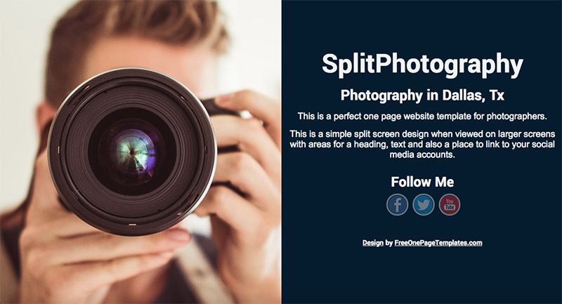 Free One Page Photography Website Template Split